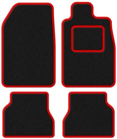Citroen C2 2003-2009 Custom Fit Taliored Car Mats Set Deluxe Quality Black Carpet with Red Trim