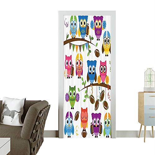 Waterproof Decoration Door Decals Sporty Owls Cheerleader League Team HelmCoach Football Sports Themed Perfect ornamentW38.5 x H77 INCH ()