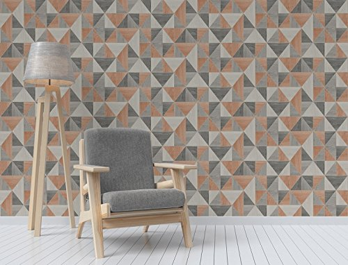 Fine Décor FD42225 UK Apex Wood Grain Wallpaper, Burnt - Wallpaper Orange Geometric