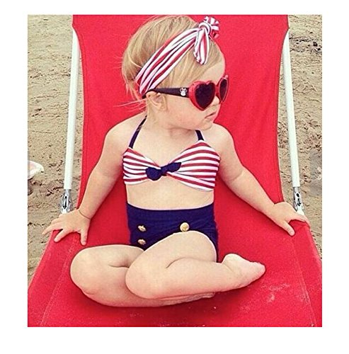 Yingwei Two-piece Bowknot Stripe Baby Girls Beach Sailor Swimwear Swimsuit Bikini (4T)