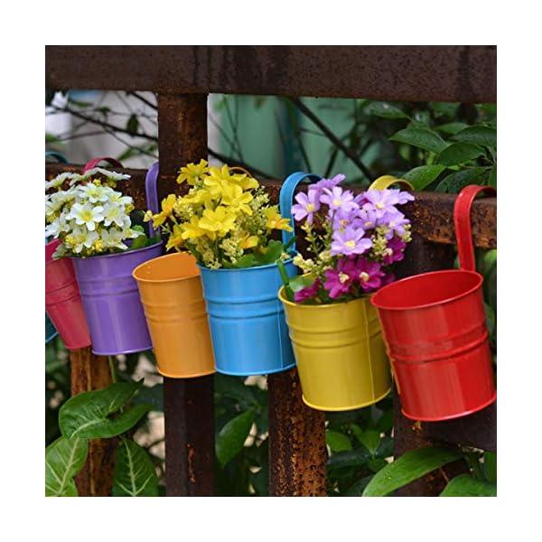 Depory metallo ferro solido colore vaso di fiori vaso da appendere per balcone o piante da giardino con gancio… 4 spesavip