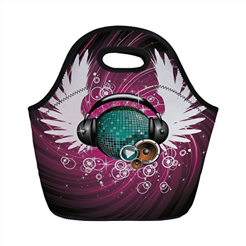 Neoprene Lunch Bag,Popstar Party,Disco Ball with Headphones and Angel Wings Vibrant Swirl with Circles,Magenta Black Teal,for Kids Adult Thermal Insulated Tote Bags ()