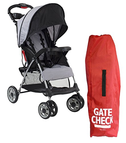 Kolcraft Cloud Plus Lightweight Stroller with Gate Check Travel Bag, Slate