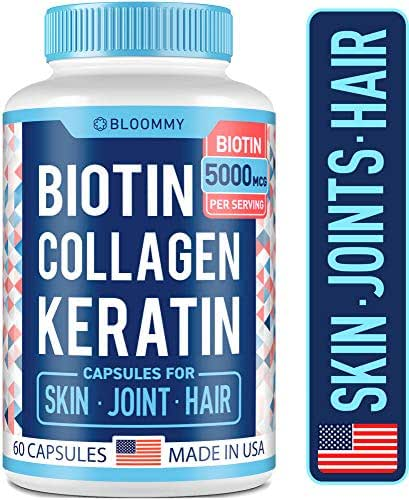 Biotin, Collagen & Keratin Capsules - Joints, Skin & Hair Vitamins - Made in USA - Biotin & Collagen Supplements for Women - Collagen Pills for Hair Care - Collagen Peptides Pills + Biotin 5000mcg