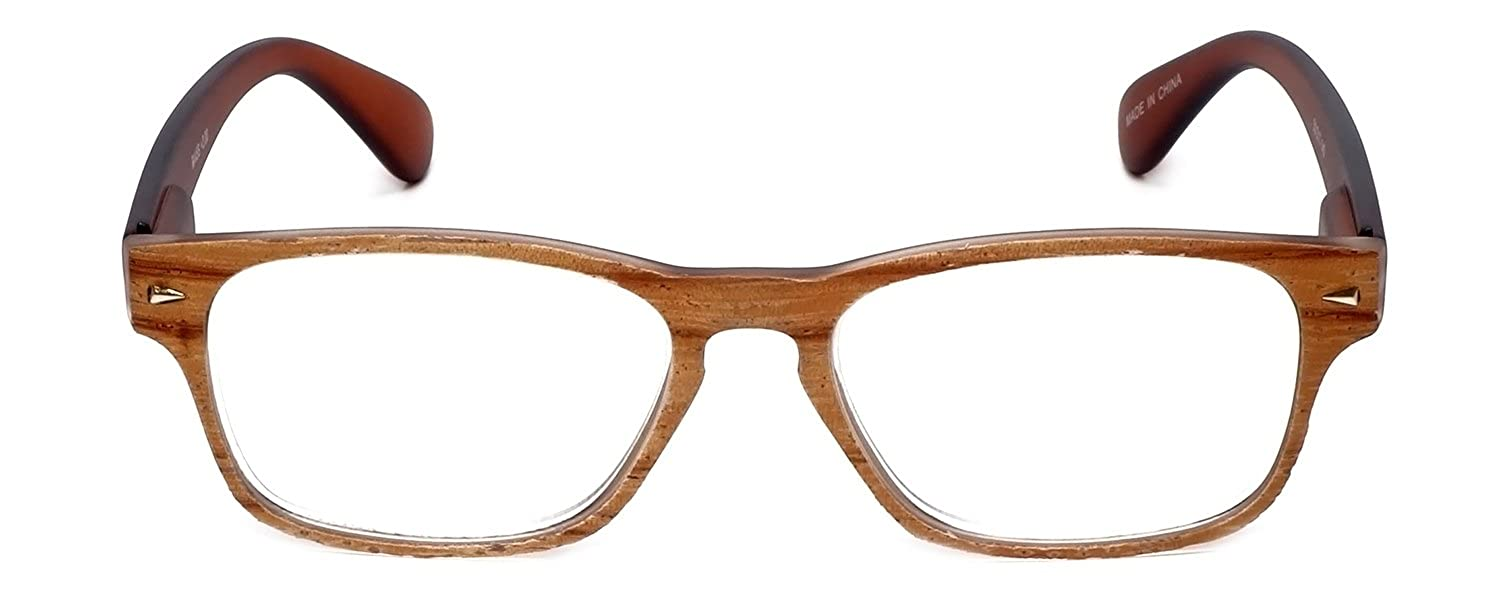 dd28d3a64bb Amazon.com  Calabria R445S Vintage Inspired Reading Glasses in Retro Faux  Wood Colorways in Brown Front   Black Temples +1  Clothing