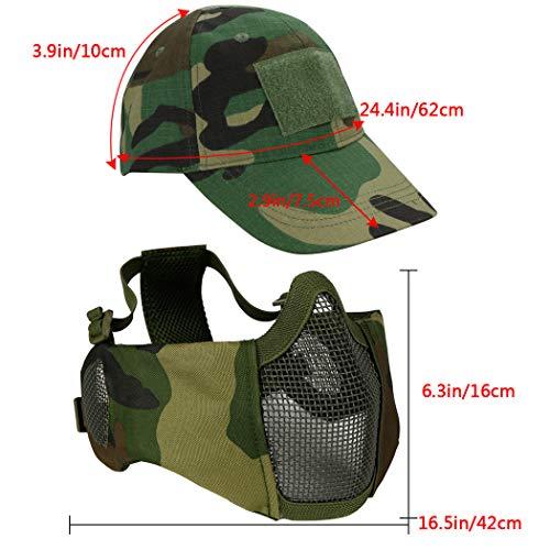 Masque Pliable Airsoft Mesh avec Protection Oreille et Casquette de Baseball Réglable Set pour CS/Chasse/Paintball/Tir 4