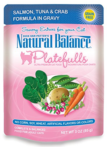 Dick Van Patten's Natural Balance Platefulls Salmon, Tuna & Crab Formula in Gravy Cat Food 3oz, Pack of 24
