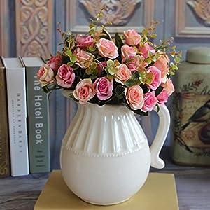 MingXiao Hot Elegant European Dark Pink Artificial Rose Silk Flower Bouquet Decal 13