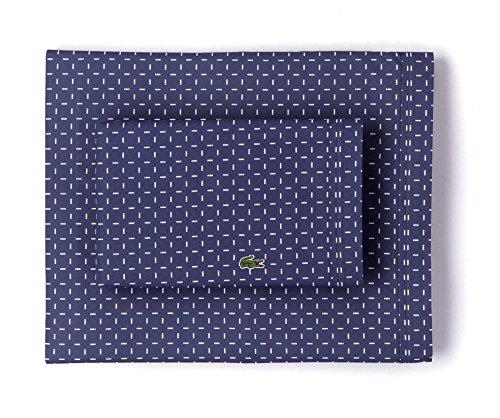 Lacoste 100% Cotton Percale Pillowcase Pair, Dash Print, Vintage Indigo, Standard (Vintage Sheet Set Percale)