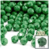 The Crafts Outlet 200-Piece Faceted Plastic Opaque Round Beads, 8mm, Emerald Green