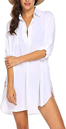 Yuson Girl Cardigan – Vestido de playa en v-Cou grande para mujer, camiseta de manga larga, de pareo transparente: Amazon.es: Ropa y accesorios