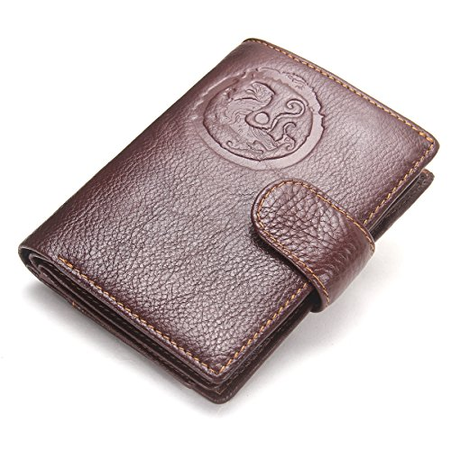 Contacts Mens Genuine Leather Passport Holder Travel Trifold Passport Wallet Dark ()