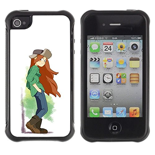 iPhone 4 / iPhone 4S , Tomboy Girl Long Hair Art Painting Brown Boots