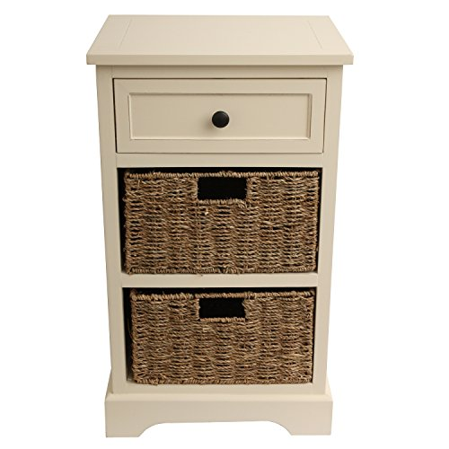 White Antique End Table (Décor Therapy FR1805 2 Drawer, 2 Baskets, Antique White Finish)