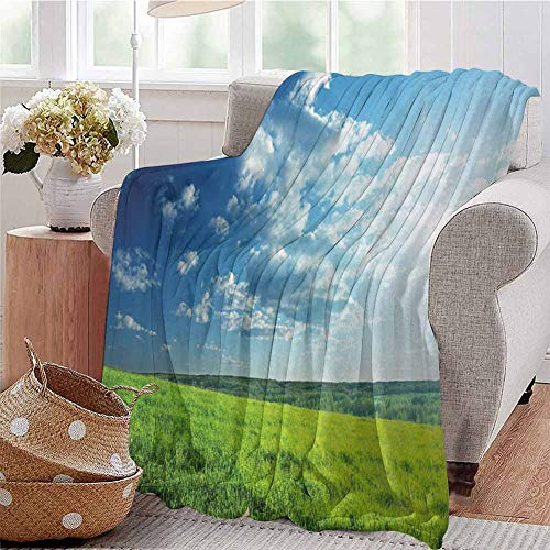 Soft Lightweight Blanket Refreshing Meadow Valley Under Cloud Sun Sky Spring Grass Country Image Lime Green Light Blue Bedroom Dorm Sofa Baby Cot Beach W71 xL90