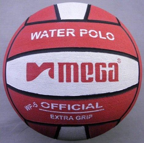 Water Polo Ball. Mega. montata, colore: rosso e bianco, Misura: 5 MegaSport