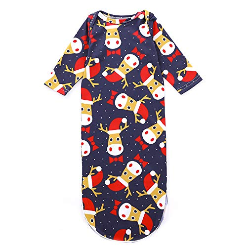 DAYOLY Christmas Elk Night Gown Sleeping Bags, Blanket Infant Boy Girl Bedding, Toddler Waddle Wrap Baby Robes, for 0-12 Month Baby (Elk) MY124