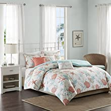 Madison Park MP12-2707 Pebble Beach 6 Piece Duvet Cover Set, Full/Queen, Coral