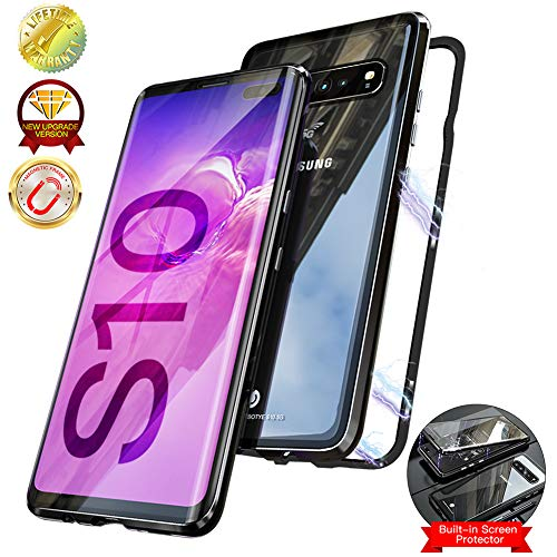 Magnetic Case for Samsung Galaxy S10e,Double-Sided Clear Tempered Glass Hard Back Cover [with Built-in Magnets Metal Bumper Frame],360° Full Protection Ultra Slim Case for S10e 5.8