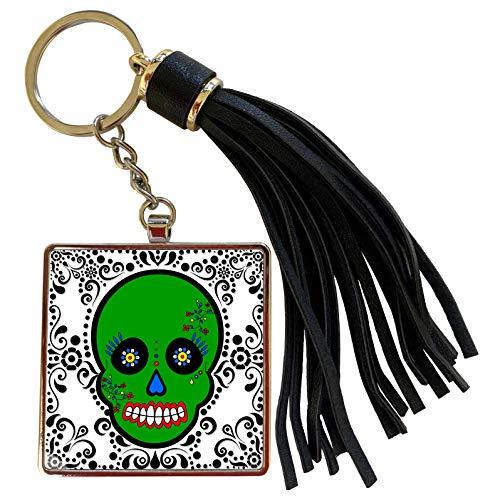 3dRose Janna Salak Designs Day of the Dead - Day of the Dead Skull Día de los Muertos Sugar Skull Green White Black Scroll Design - Tassel Key Chain (tkc_28880_1)