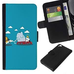 EJOY---La carpeta del tirón la caja de cuero de alta calidad de la PU Caso protector / HTC Desire 820 / --Funny Animals lindas