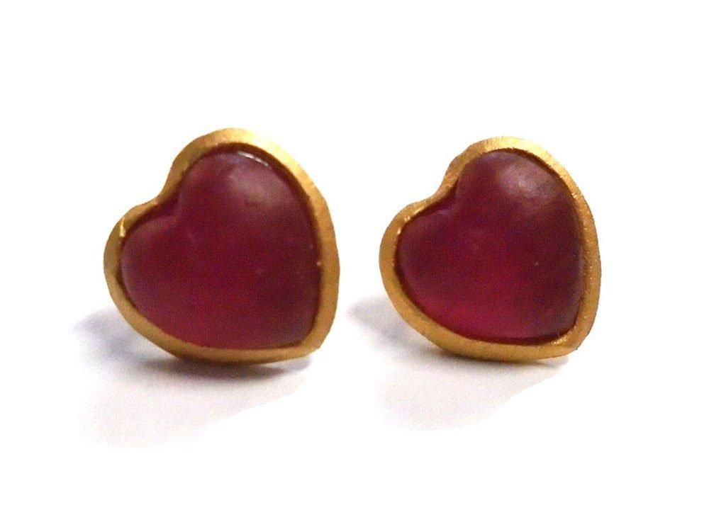 Michael Vincent Michaud- Glass ''Heart Stud Earrings'' in Pale Ruby