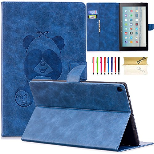 Dteck Case for Amazon Fire HD 10 Tablet (2015 & 2017 Release) - Slim Fit 3D Cute Panda Embossed Wallet PU Leather Case Cover Folio Stand with Auto Sleep/Wake for Fire HD 10.1 Inch Tablet, B_Blue