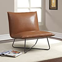 Chic Transitional Saddle Sleek Blonded Leather Brown Pillow Lounge Chair