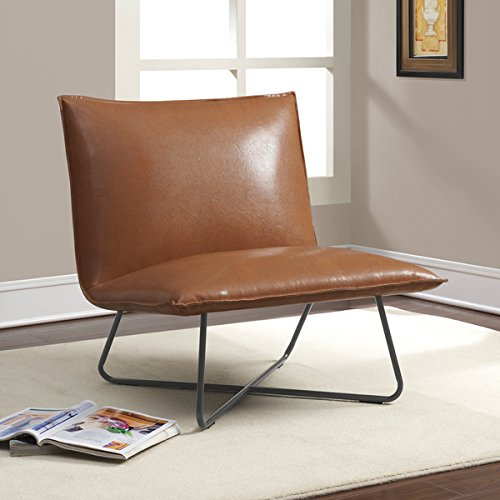 Chic Transitional Saddle Sleek Blonded Leather Brown Pillow Lounge Chair by I Love Living