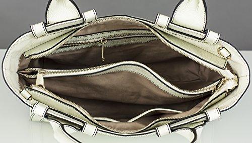 BELUCIA CICCIANO Sac porté main,Sac à main, véritable cuir de veau de grain, Couleur Off-White (Blanc), Retours gratuits de France