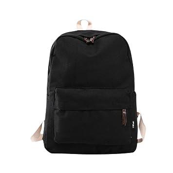 Mochila, Manadlian Bolso de mujer Mochila de viaje escolar Bolsos de hombro de lona para niñas (30cm(L)*40(H)*15cm(W), Negro): Amazon.es: Hogar
