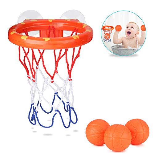 Accmor Bath Toy Baby Basketball Hoop, Toddlers Bathtub Basketball Hoop with 3 Balls for Boys and Girls, Suctions Cups Can Stick to Any Flat Surface
