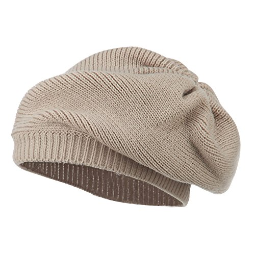 Women's Ribbed Knit Beret - Beige OSFM