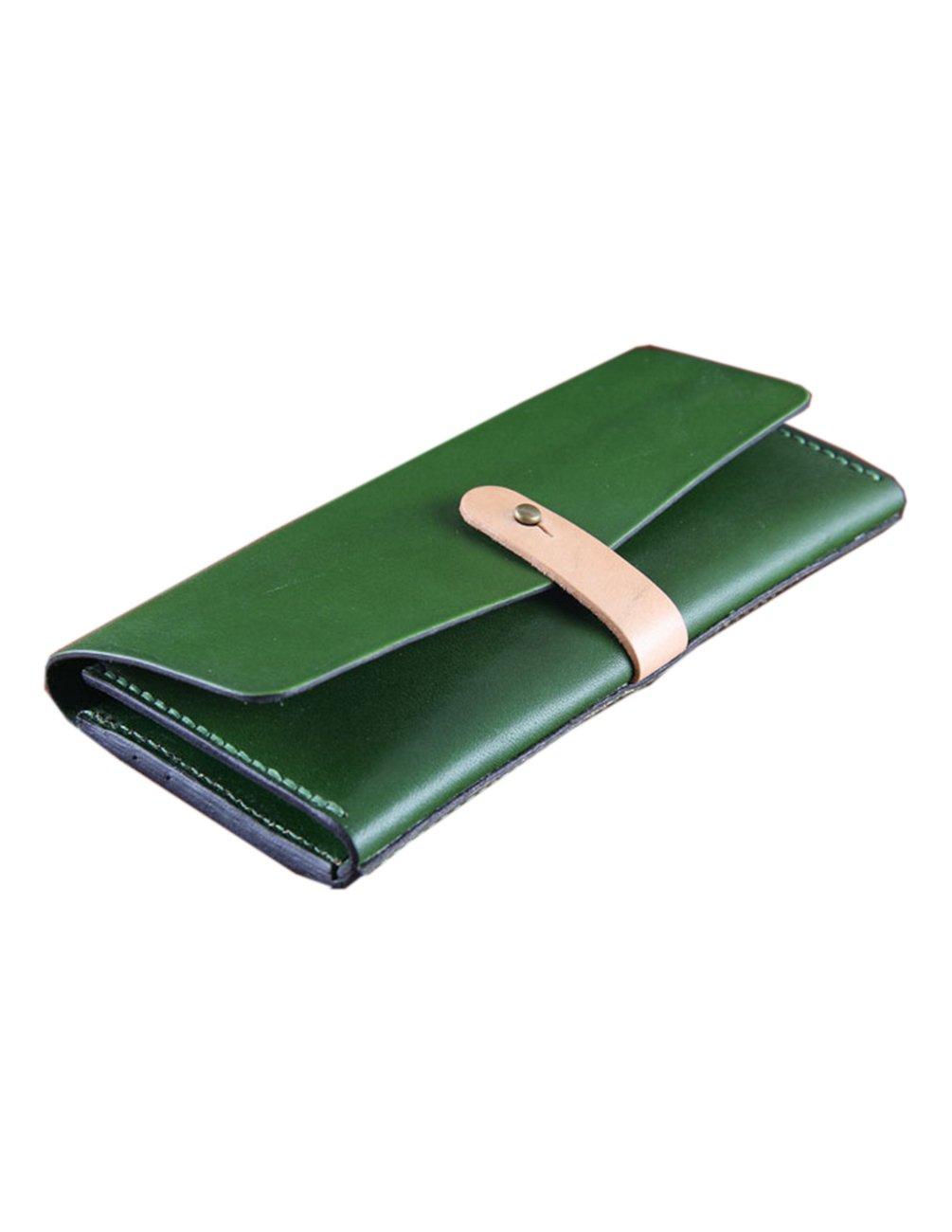 Menschwear Men's Leather Clutch Wallets Card Holder Long PurseGreen