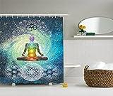 Ambesonne Mandala Shower Curtain Bohemian Yoga Zen Decor by, Mandala Design Zen Meditation Hippie Style with Chakra Art Print, Polyester Fabric Bathroom Shower Curtain Set with Hooks, Rainbow Colors