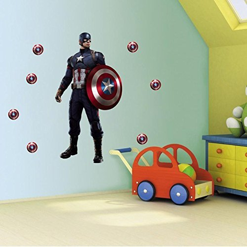 DreamKraft Captain America Shield Wall Sticker For Living And Kids Room Decor Standard Multicolor