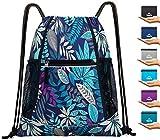 Venture Pal Packable Sport Gym Drawstring Sackpack Backpack Bag with Wet Pocket for Men,Women-Purple Leaf