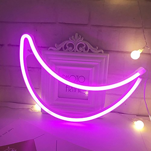 Neon Light,LED Moon Sign Shaped Decor Light,Wall Decor for Christmas,Birthday party,Kids Room, Living Room, Wedding Party Decor (Purple pink)