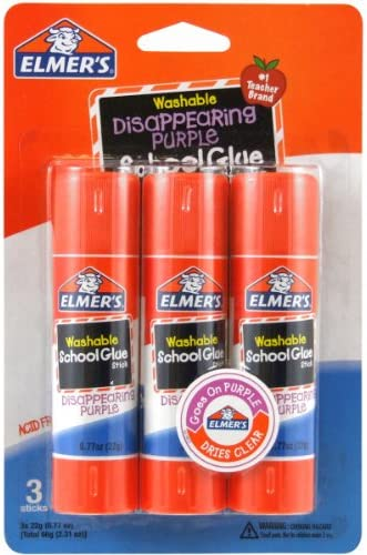 Elmer's Disappearing Purple School Glue Sticks, 0.77 ounces Each, 3 Sticks in step with Pack (E562)