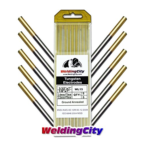 "WeldingCity 10-pk TIG Welding Tungsten Electrode Rod Lanthanated 1.5% (Gold) Assorted Size 3/32"" (5-pk) and 1/8"" (5-pk) 7"" Length (10-pcs/box)"