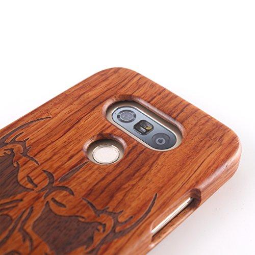 para LG G3 Wood Case, Vandot 2 en 1 Funda Madera Real Rigida Cubierta Carcasa Protectiva Tapa Trasera Anti-Shock Caja del teléfono móvil para LG G3, Diseño del árbol de coco Madera 07