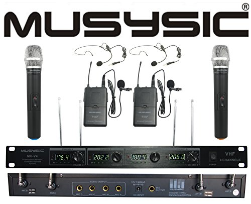4-Channel Professional VHF Handheld & Lapel / Lavalier Headset Wireless Microphone System by MUSYSIC