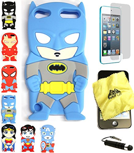 Bukit Cell 3D Superhero Bundle: Batman Blue Cute Justice League Cartoon Soft Silicone Case for Ipod Touch 6 6th Generation / 5 5th Generation + Cleaning Cloth + Screen Protector + Stylus Pen (Ipod Touch Superhero Cases)