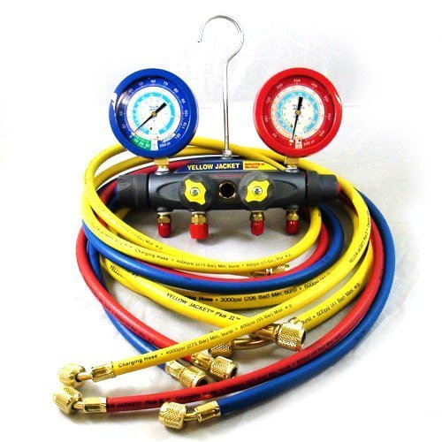Yellow Jacket 46048 Brute II Test and Charging Manifold, F/C, Liquid Gauge, psi, R-22/134A/404A by Yellow Jacket