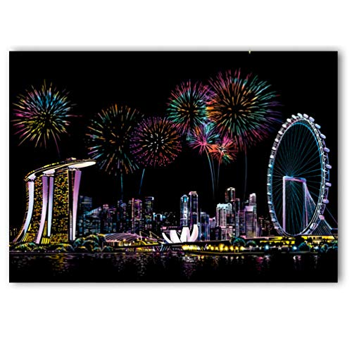 C-pop Scratch Art Paper DIY Night View Scratchboard for Adult and Kids,Four Series Size 11.2''x16'' (Singapore) - Night View Series