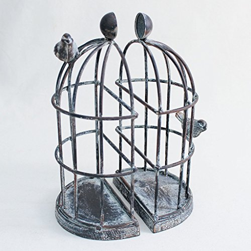 End Cage (Time Concept Handmade Iron Bookend Pair - Birdcage - Decorative Book Support, Home/Office Multipurpose Organizer, Movies/DVDs/Magazines/Video Games)
