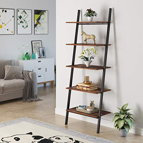 Homfa Industrial Ladder Shelf, 5-Tier Plant Flower Stand Leaning Wall Bookcase, Multipurpose Storage Organizer Display Rack, Wood Look Accent Metal Frame Home Office (Shelf Wall Ladder)