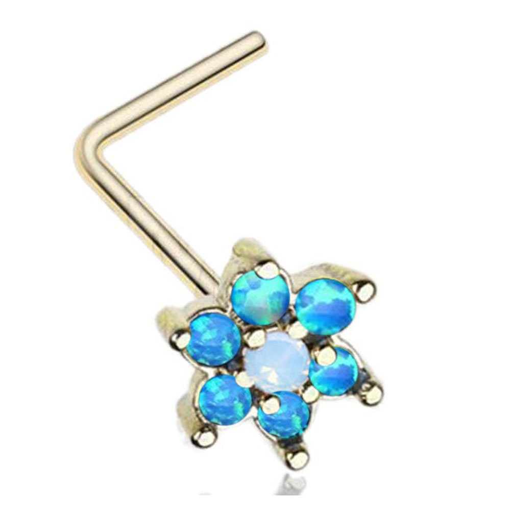20g IP Gold Stainless Steel 8mm Opal Gem Flower L-shaped Nose Rings (Blue Opal)
