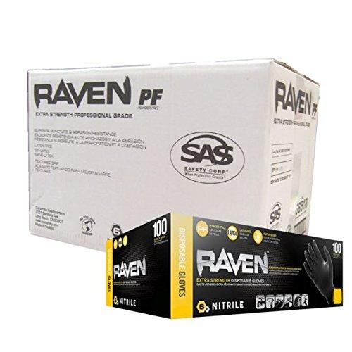 SAS Safety 66518 Raven 6 mil Black Nitrile Disposable Gloves - Large - 10 Pack(100 Gloves per ()