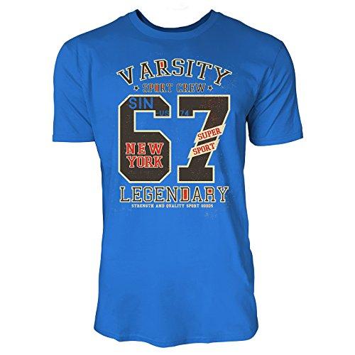 Sinus Art ® Herren T Shirt Varsity Sport Crew ( Royal_Blue ) Crewneck Tee with Frontartwork
